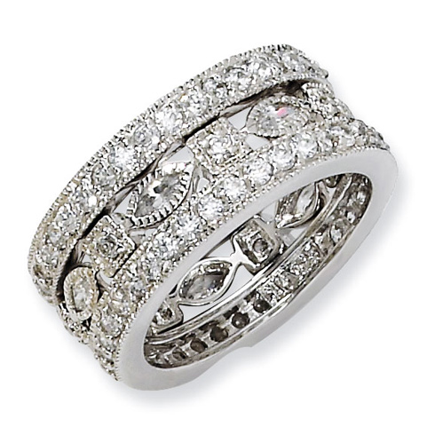 Sterling Silver CZ Eternity Three Ring Set