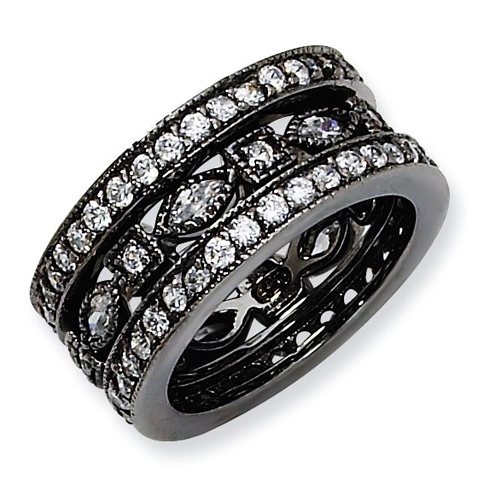 Black-plated Sterling Silver CZ Eternity Three Ring Set
