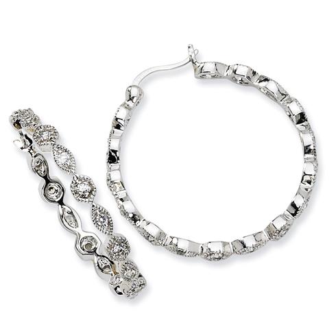 1 1/4in Sterling Silver CZ Hoop Earrings
