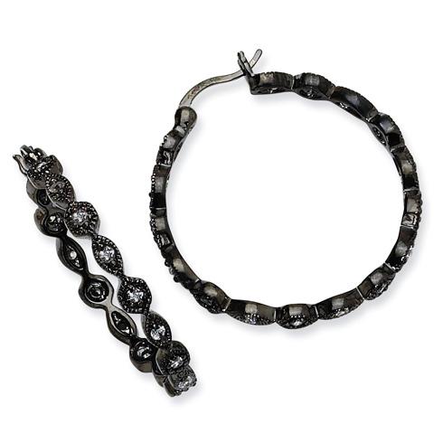 1 1/4in Black-plated Sterling Silver CZ Hoop Earrings