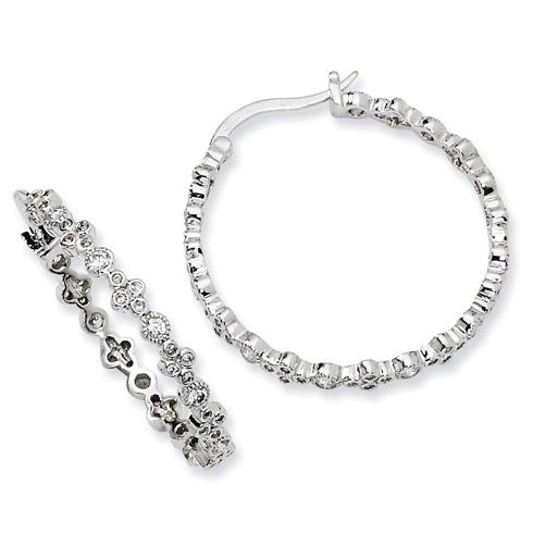 1 1/8in Sterling Silver CZ Fancy Hoop Earrings