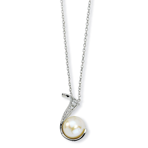 Sterling Silver CZ White Cultured Pearl Swirl 18in Necklace