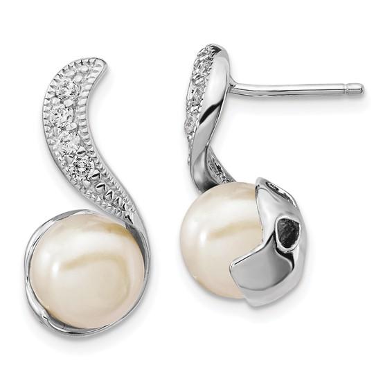 Sterling Silver CZ Cultured Pearl Swirl Post Earrings