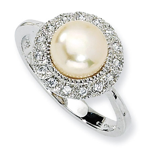 Sterling Silver CZ Pink Cultured Pearl Ring