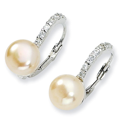Sterling Silver CZ Pink Cultured Pearl Leverback Earrings