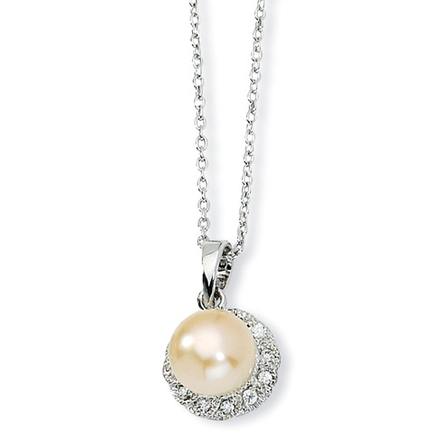 Sterling Silver CZ Pink Cultured Pearl 18in Necklace