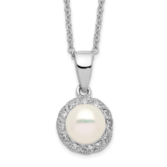 Sterling Silver CZ Freshwater Cultured Pearl 18in Necklace