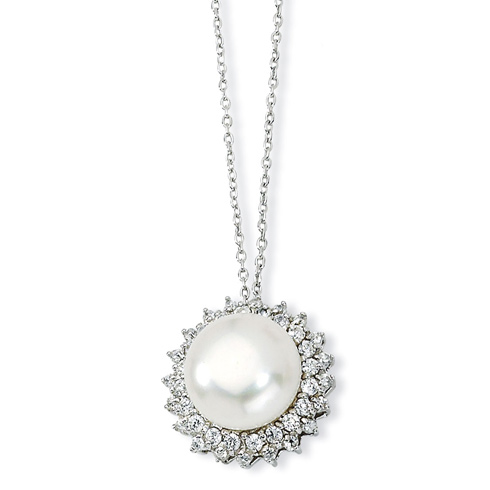 Sterling Silver CZ Cultured Pearl 18in Necklace