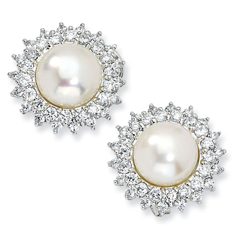 Sterling Silver CZ Cultured Pearl Omega Back Earrings