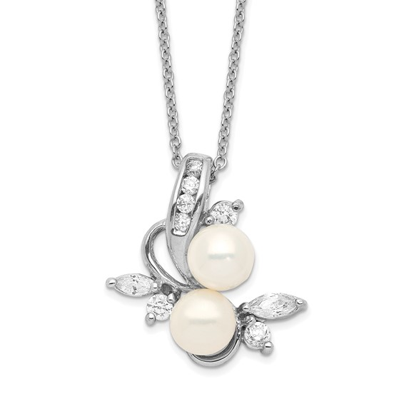 Sterling Silver CZ Cultured Pearl Leaves 18in Necklace
