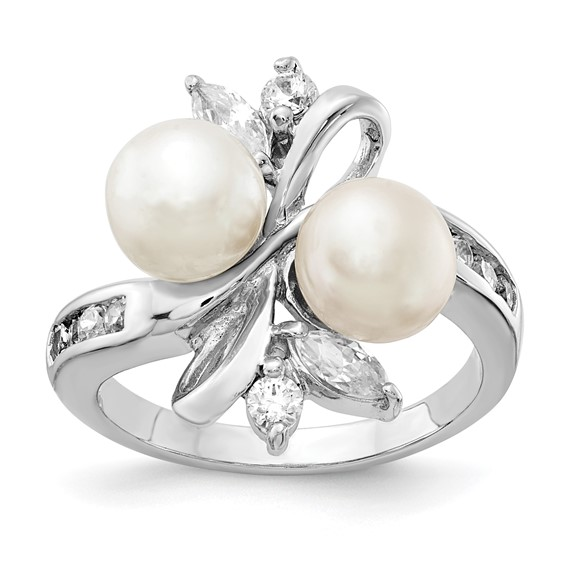 Sterling Silver CZ White Cultured Pearl Leaves Ring
