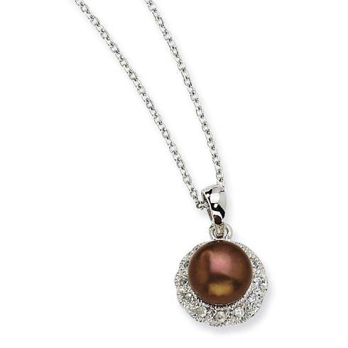 Sterling Silver CZ Chocolate Cultured Pearl 18in Necklace