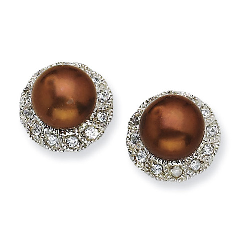 Sterling Silver CZ Chocolate Cultured Pearl Stud Earrings