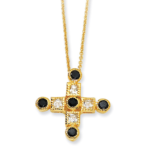 Gold-plated Sterling Silver Black & White CZ Cross 18in Necklace