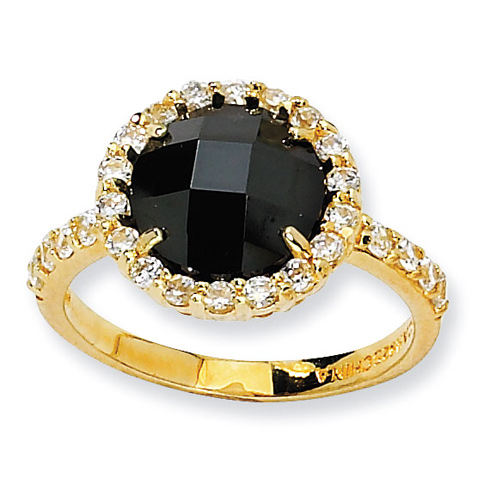Gold-plated Sterling Silver Checker-cut Black and White CZ Ring