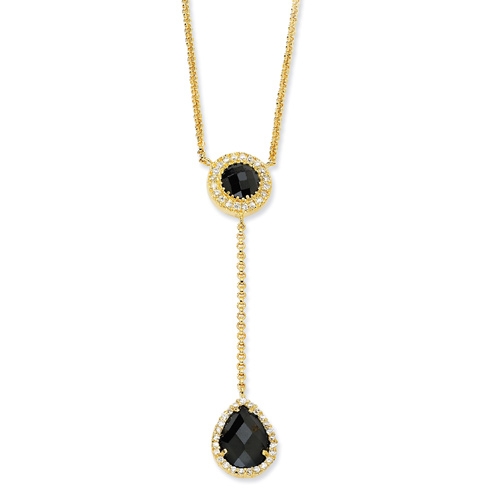 Gold-plated Sterling Silver Checker-cut Black and White CZ 17in Necklace