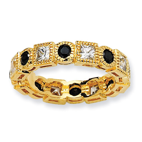 Gold-plated Sterling Silver Black & White CZ Eternity Ring