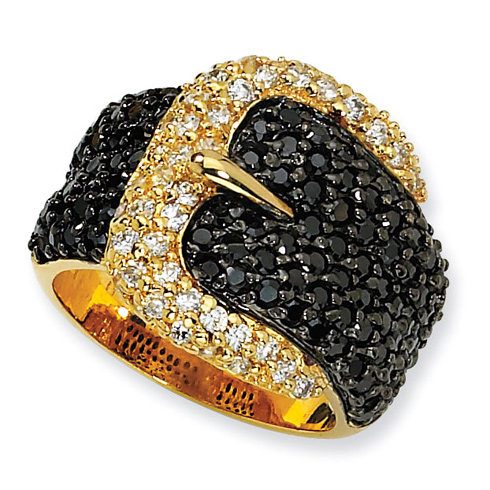 Gold-plated Sterling Silver Black White CZ Buckle Ring