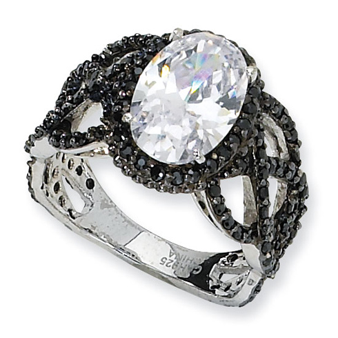 Black-plated Sterling Silver Fancy Oval Black White CZ Ring