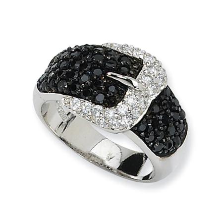Sterling Silver Black & White CZ Belt Ring