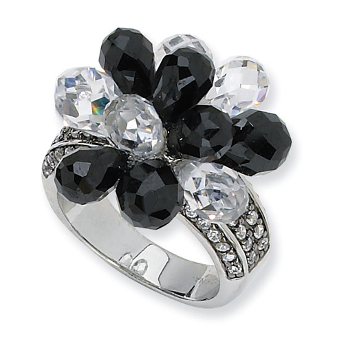 Sterling Silver Briolette-cut Black White CZ Ring