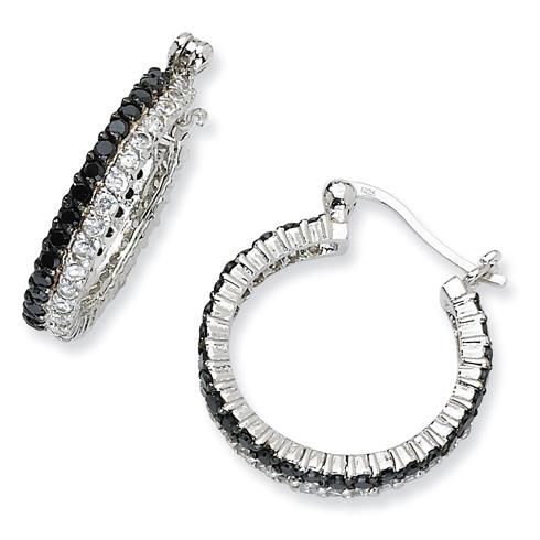 Sterling Silver Black White CZ Post Hoop Earrings