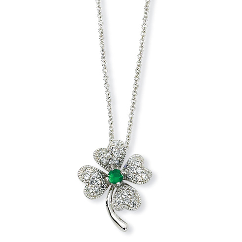 Sterling Silver Simulated Emerald CZ Clover 18in Necklace