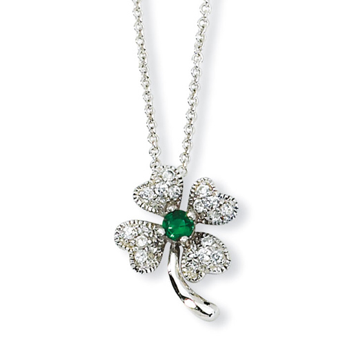 Sterling Silver Child's Green CZ 4-leaf Clover 15in Necklace