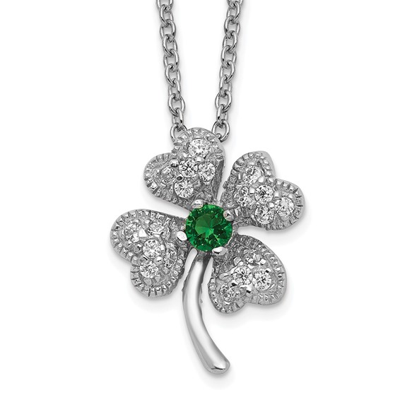 Sterling Silver Child's Simulated Emerald CZ 4-leaf Clover 15in Necklace
