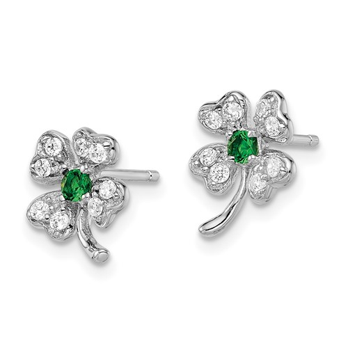 Sterling Silver Simulated Emerald CZ 4-leaf Clover Post Earrings