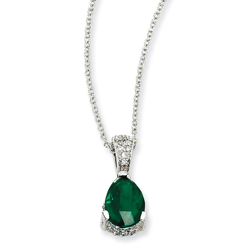 Sterling Silver Rose-cut Pear Simulated Emerald & CZ 18in Necklace