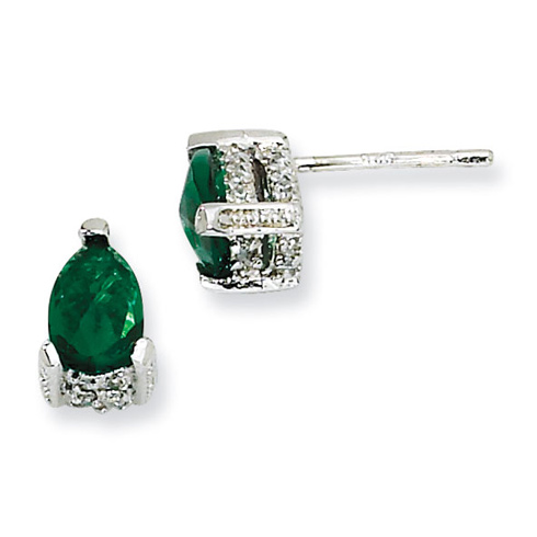 Sterling Silver Rose-cut Pear Simulated Emerald & CZ Post Earrings