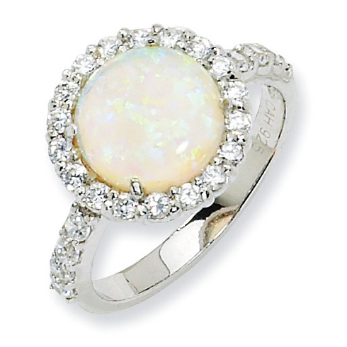 Sterling Silver Synthetic Opal CZ Halo Ring