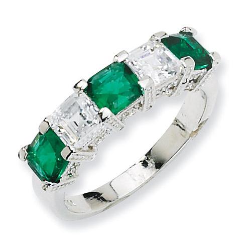 Sterling Silver Asscher-cut Simulated Emerald CZ 5-stone Ring