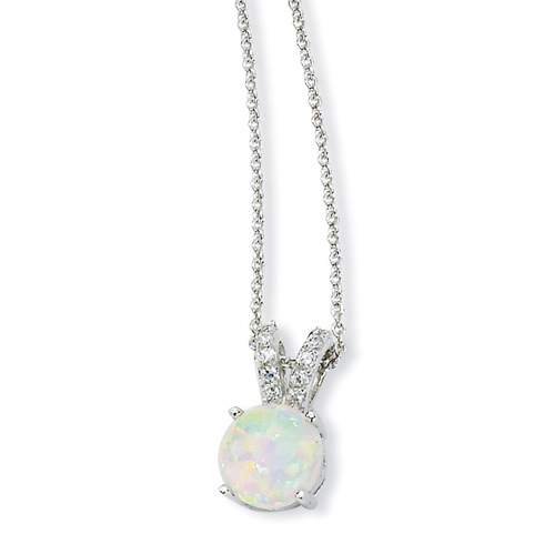 Sterling Silver Synthetic Opal Cabochon & CZ 18in Necklace