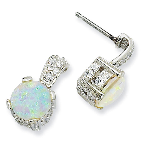 Sterling Silver 8mm Syn Opal Cabochon & CZ Dangle Post Earrings
