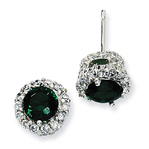 Sterling Silver Simulated Emerald & White CZ Round Post Earrings