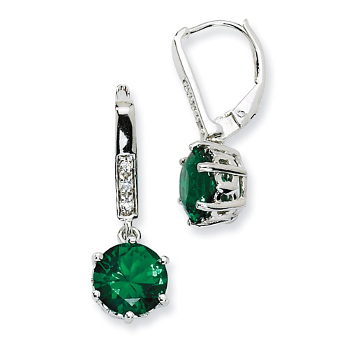 Sterling Silver Simulated Emerald & CZ Leverback Earrings