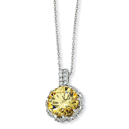 Sterling Silver Round Canary & White CZ 18in Necklace