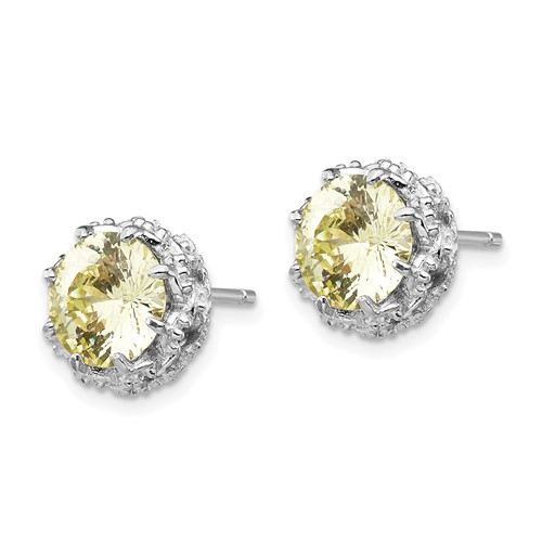 Sterling Silver Round Canary CZ Post Earrings