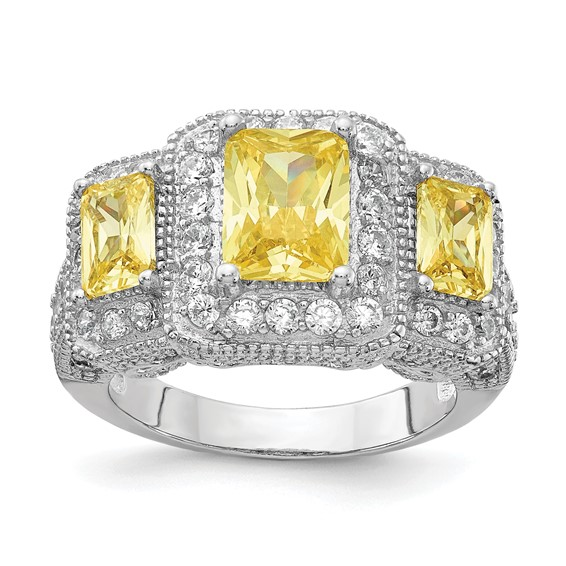 Sterling Silver Canary & White CZ 3-stone Ring