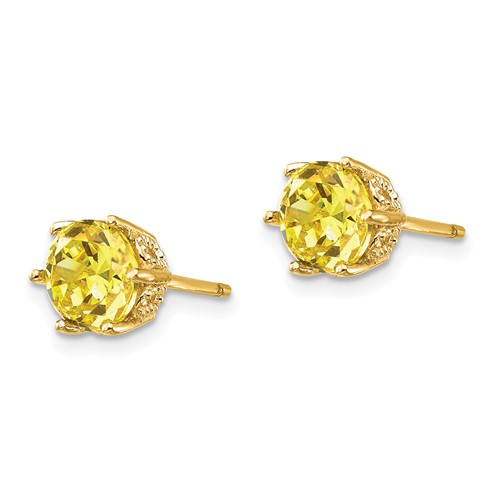 Gold-plated Sterling Silver 6.5mm Yellow CZ Stud Earrings