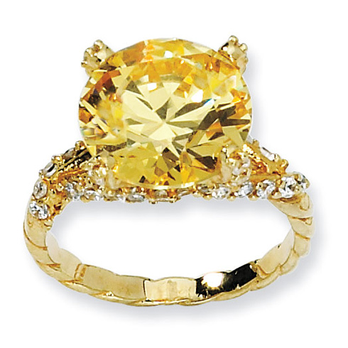 Gold-plated Sterling Silver Yellow and White CZ Ring