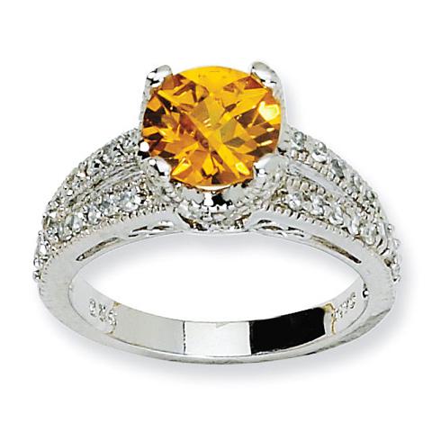 Sterling Silver Checker-cut Yellow & White CZ Ring