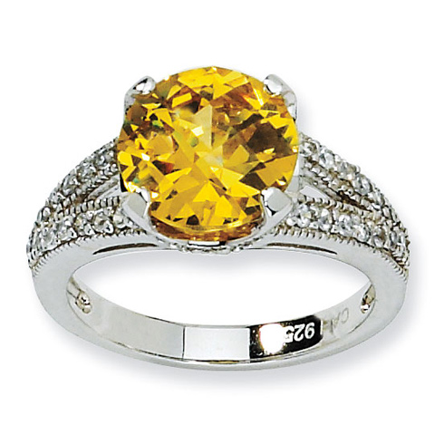 Sterling Silver Checker-cut Yellow & White CZ Ring
