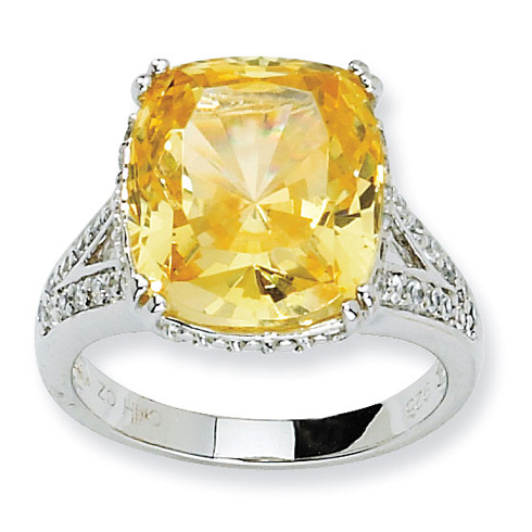 Sterling Silver Canary & White CZ Ring