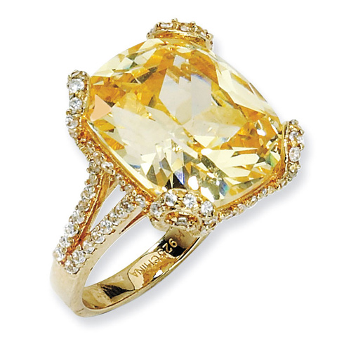 Gold-plated Sterling Silver Champagne and White CZ Ring