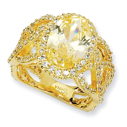 Gold-plated Sterling Silver Oval Canary White CZ Ring