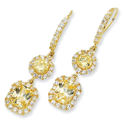 Gold-plated Sterling Silver Canary & White CZ French Wire Earrings