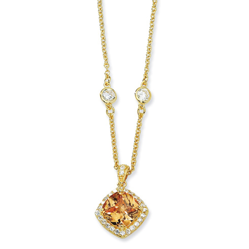 Gold-plated Sterling Silver Rose-cut Champagne CZ Square 18in Necklace